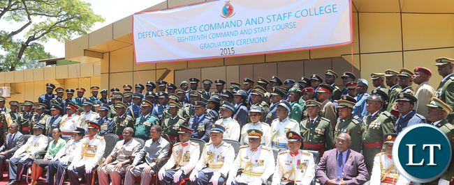 President Lungu Pose with defence Staff College