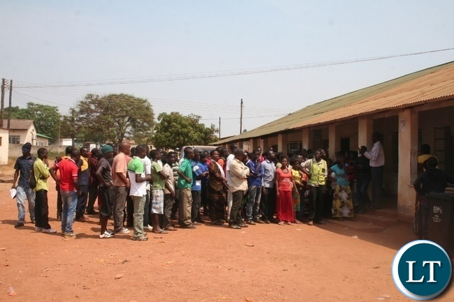 The department of National Registration, Passport and Citizenship in North-Western has intensified the issuance of national registration card to eligible Zambians in the province before the registration of voters' come to an end on11th November, 2015. Above, teenagers accompanied by their guardians wait to be issued with the national identification document at the Boma offices in Solwezi