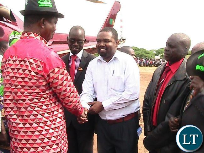 President Edgar Lungu welcomed by Mpongwe District commissioner Keith Maila shortly before addressing a public rally in the district