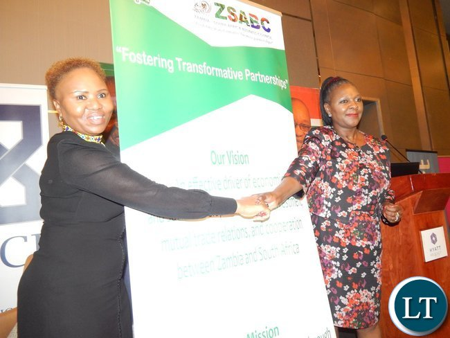 South Africa's Minister for Small Business Development, Lindiwe Zulu and Zambia's Minister of Commerce, Trade and Industry, Mrs. Margaret Mwanakatwe after officially launching the Zambia-South Africa Business Council in Johannesburg