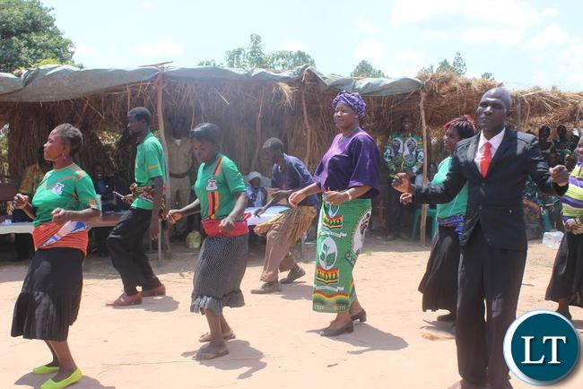 President Nawakwi joins traditional dancers at the Ichasaka Cha Lubumbu Traditional Ceremony in Chilubi.