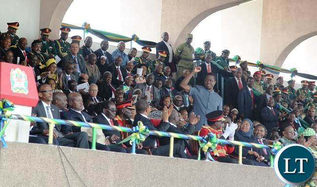 President Lungu Raises the PF Symbol as he is introduced to the crowd