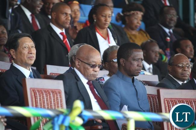President Edgar Lungu and south african president Jacob Zuma follow proceedings at the inauguration ceremony of the newly elected Tanzanian President Dr John Pombe Magufuli at the Uhuru stadium in Da es Salaam, Tanzania.