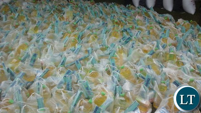Containers of cooking oil ready to be distributed