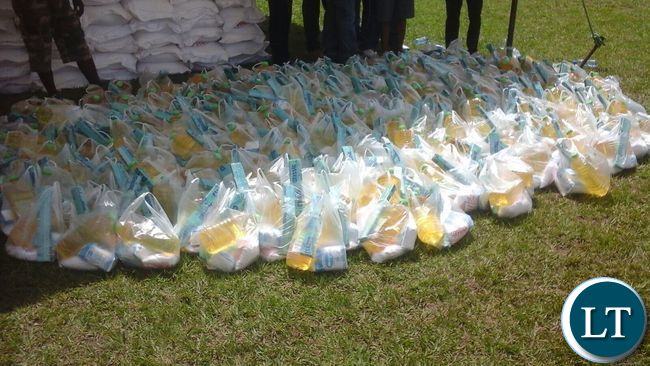 Hampers of Sugar and cooking oil ready for distribution