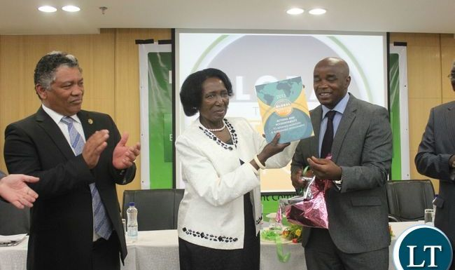 Vice President Wina launching the 2015 Global Nutritrion report, looking on is Hon. Given Lubinda, Minister of Agriculture and CSO-SUN National Coordinator William Chilufya