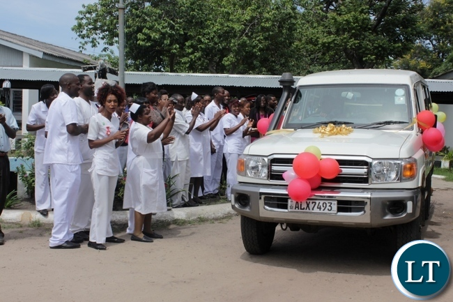 Lewanika School of Nursing and Midwifery students welcome the donation of a Land Cruiser worth $53,400 from Caritas Czech Republic in Mongu