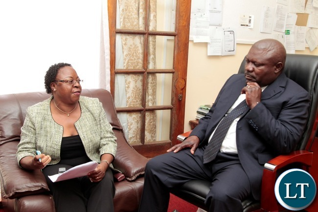 Zambia Association Women in Constructions (ZAWIC) President Dorothy Mulwila speaks to Special Assistant for Project and Monitoring to the President Lucky Mulusa at State House when they called on him