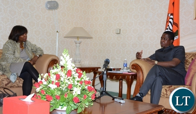 -President Edgar Lungu speaks World Food Programme Executive Director Ertharin Cousin at State House during a courtesy call