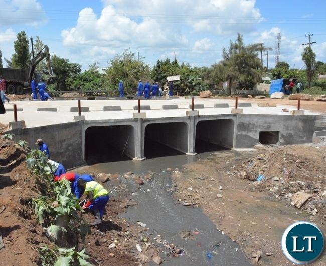 Chunga bridge in Matero under construction