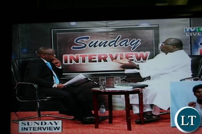 Chishimba Kambwili gestures on Sunday Interview