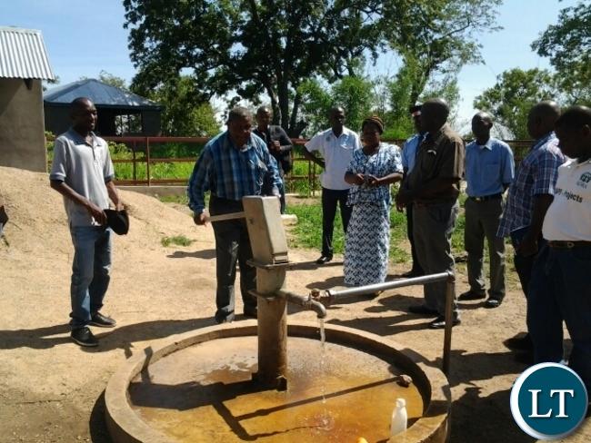 MALAMBO Patriotic Front(PF)Member of Parliament,Jacob Shuma trying a borehole at Mphomwa dip tank in Mambwe