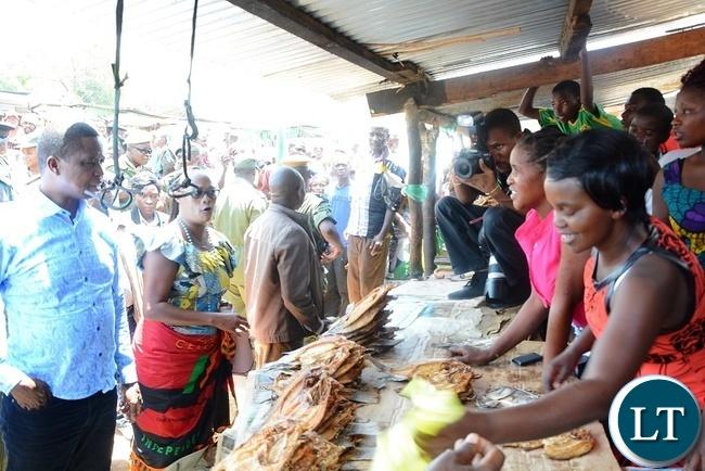 President Edgar Lungu touring Luangwa Market