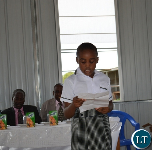 A pupil at Victoria Falls Adventist Primary School giving a vote of thanks during the official opening of Victoria Falls Adventist Primary School in Livingstone