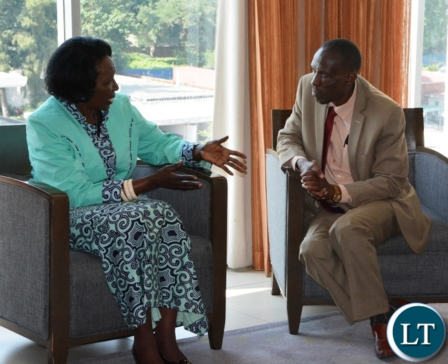 Vice President Inonge Wina and Permanent Secretary Simon Miti in the Ministry of National Development and Planinng at Intercontinental Hotel for meeting with donors