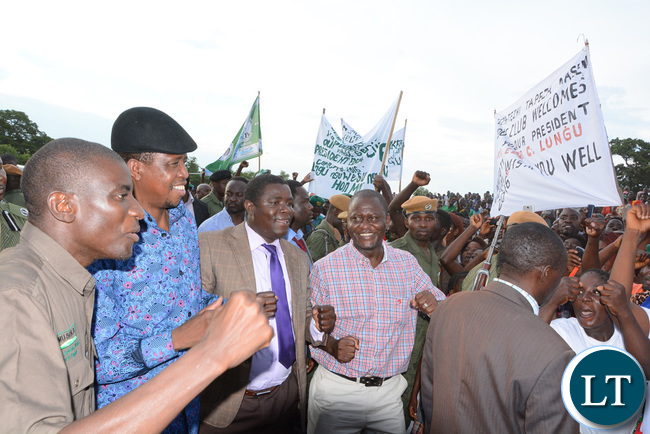 President Lungu and livestock Minister Greyford Monde being receive at Itezhi Itezhi grounds