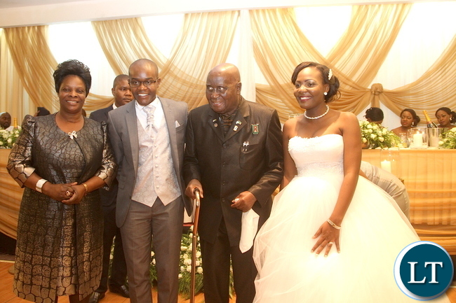 KK and first Lady at the wedding ceremony of Masuzgo Kaunda Junior (grandson son of Dr Kenneth Kaunda) and Makomba Silwamba (daughter of Eric Silwamba) at InterContinental Hotel in Lusaka
