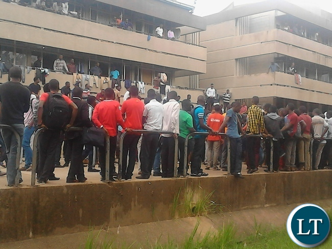 UNZA students are currently mobilizing at monk square