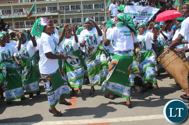 PF cadres welcoming President Lungu
