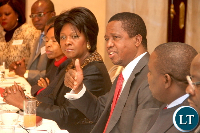 President Edgar Lungu speaking when he held a breakfast meeting with the French Investors in Africa at Le Meurice hotel in Paris France