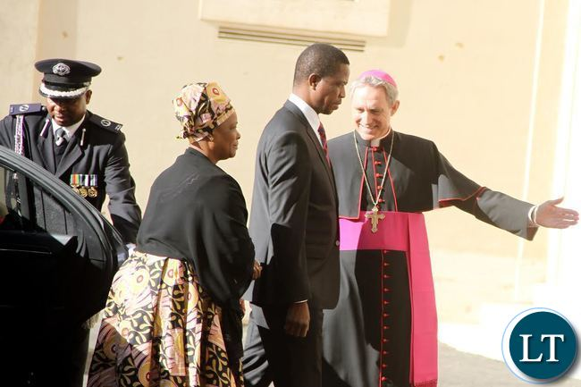 President Lungu and First Lady Esther Lungu being ushered by Bishop Ganswein on arrival Vatican where he met the Pope on Feb 5,2016 -Picture by THOMAS NSAMA