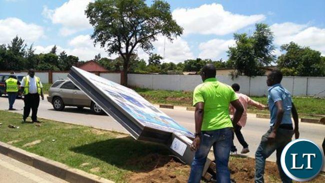 RTSA pulls down billboards in Lusaka