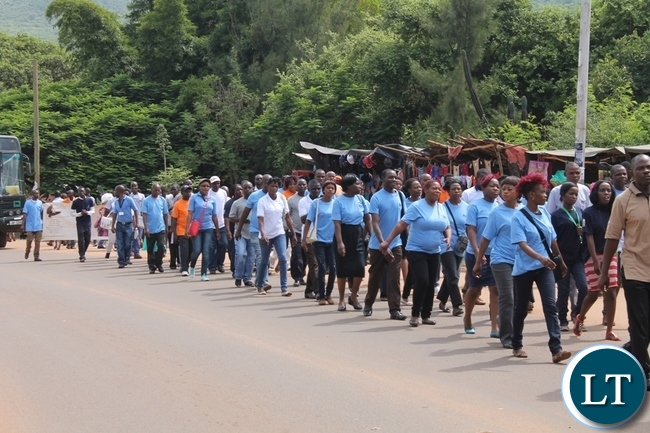 Media practitioners and journalists marching during the World Radio Day in Chipata