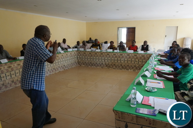 One of the facilitators explaining the importance of forming cooperatives during the last day of a one week training workshop for 90 smallholder farmers which started on Monday last week in Solwezi. Pictures by Creavat Chituta and Kausa MbaselaOne of the facilitators explaining the importance of forming cooperatives during the last day of a one week training workshop for 90 smallholder farmers which started on Monday last week in Solwezi. Pictures by Creavat Chituta and Kausa Mbasela