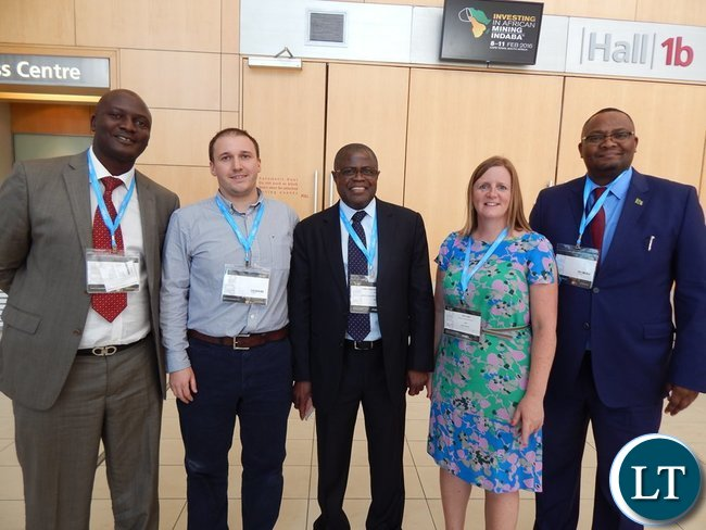 Mines Minister Mr. Christopher Yaluma (c) with UK Trade Investment Specialist Ms. Ros Lund, Mines Deputy Minister Mr. Richard Musukwa, (extreme left), and His Excellency Mr. Emmanuel Mwamba at the the 2016 Mining Conference in Cape Town on 8th February, 2016
