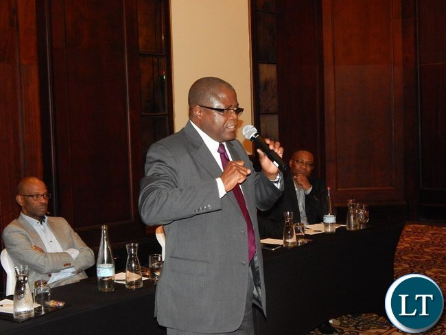 Mines Minister Mr. Christopher Yaluma speaks at the meeting with Zambians in Cape Town on 9th February, 2016