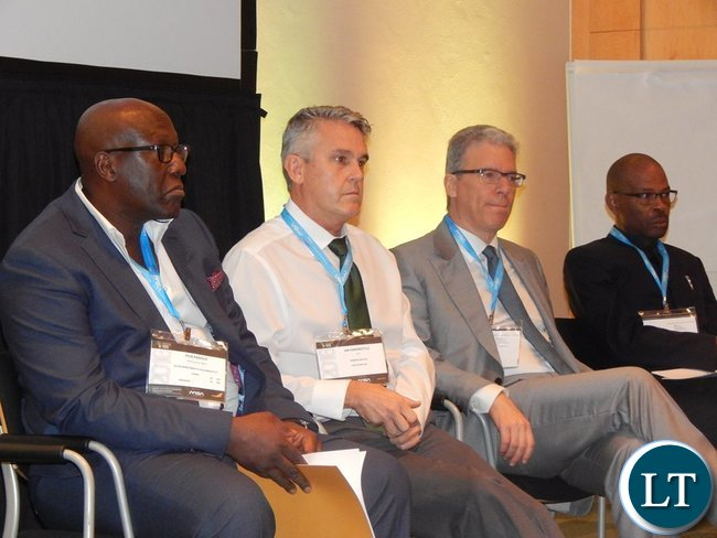 Dr. Kasolo, Mr. Harebottle, Mr. Albanese and Mr. Mvunga on the panel discussion of Country Case Study on Zambia session at the 2016 Mining Conference in Cape Town on 10th February