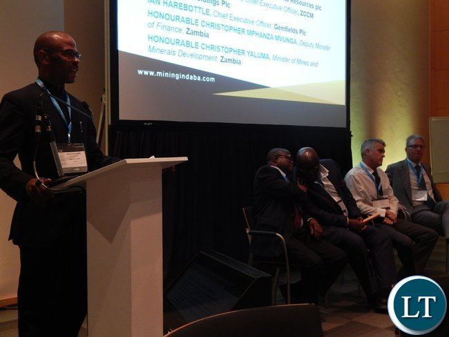 Mr. Mvunga making his presentation at the Country Case Study on Zambia session at the 2016 Mining Conference in Cape Town on 10th February