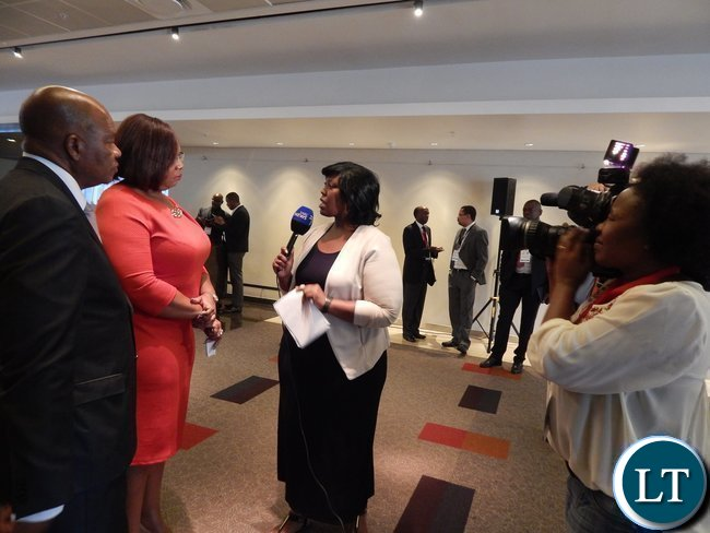 Zambia's Energy and Water Development Minister Ms. Dora Siliya caused a media frenzy after her talk at the Africa Energy Conference in Johannesburg on 16th February, 2016. In the picture, Ms. Siliya being interviewed by South African Broadcasting Corporation's Liabo Setho