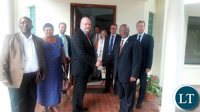 Posing for a photo with EU diplomats