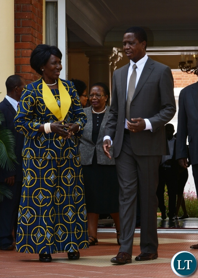 President Edgar Lungu and his Vice President Inonge Wina at State House During the swearing in ceremony of the Supreme Judges