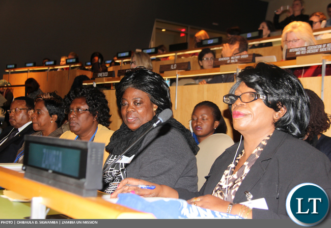 Ministers Prof. Nkandu Luo (Gender) and Jean Kapata (Tourism and Arts), and Gender Permanent Secretary Edwidge Mutale at the 60th Session of the Commission on the Status on Women at UN Headquarters 14 March, 2016. PHOTO | Chibaula D. Silwamba | Zambia UN Mission