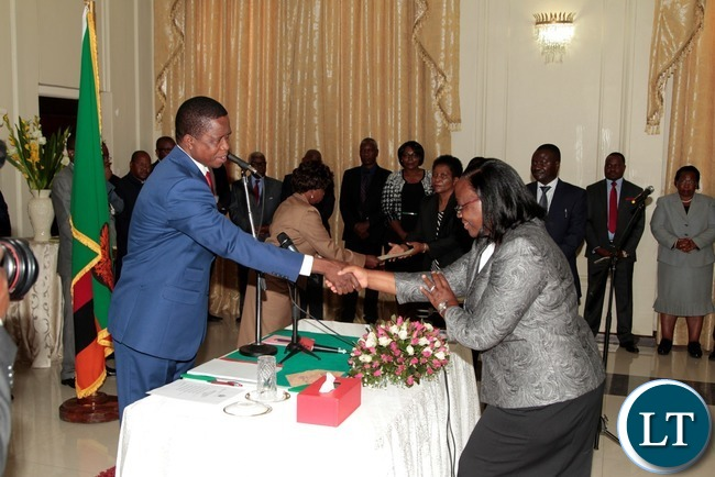 President Edgar Lungu congratulates newly appointed Constitutional Court judge Justice Mwewe Anne Sitali at State House