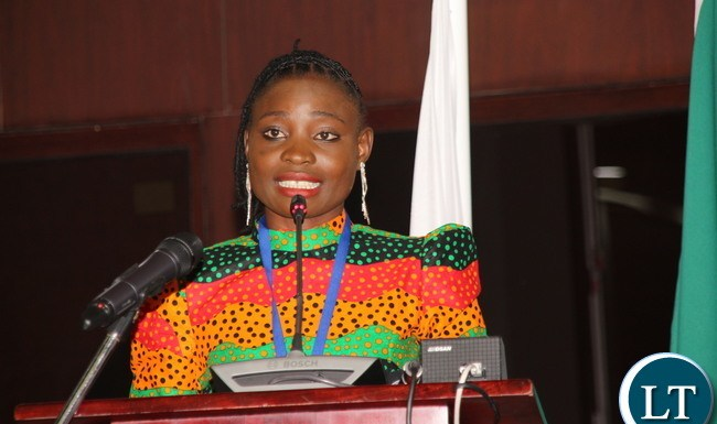 Catherine Phiri addressing the 134th IPU Assembly General debate at Mulungushi International Conference Center