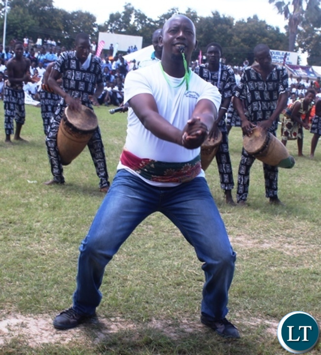 Mukobeko secondary school teacher and his dancing group showcasing their dancing skills during this Year's Youth day celebrations in Kabwe. Picture by SUNDAY BWALYA/ZANIS