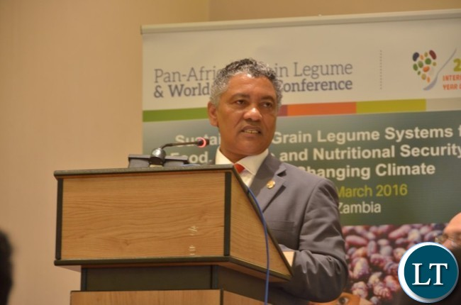 Agriculture Minister Given Lubinda speaking during the official opening of the first joint Pan-African Grain Legume and World Cowpea Conference currently being held at AVANI Victoria Falls Hotel. Picture by Jeffrey Oliver