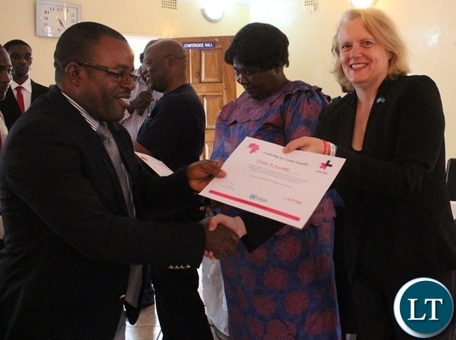 Gender Deputy Minister Dorothy Kazunga with UN Resident Coordinator Janet Rogan during the launch of the HEFORSHE campaign held at Sinamu lodge in Kasama today