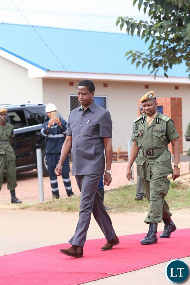 President Lungu arrive to Commission the Police Houses