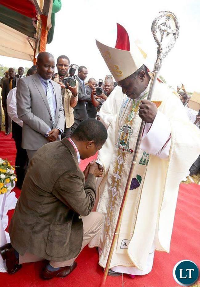 President Lungu with Bishop Haggai Mumba Kapaba.