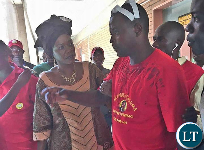 CHONGWE MP Syvia Masebo reacts to a UPND cadre who was narrating his experience after being attacked by PF cadres at the Youth Day celebrations in Lusaka.