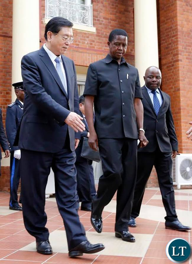 President Lungu meeting with the Chinese PArliamentary Delegation who came to attend the IPU Summit