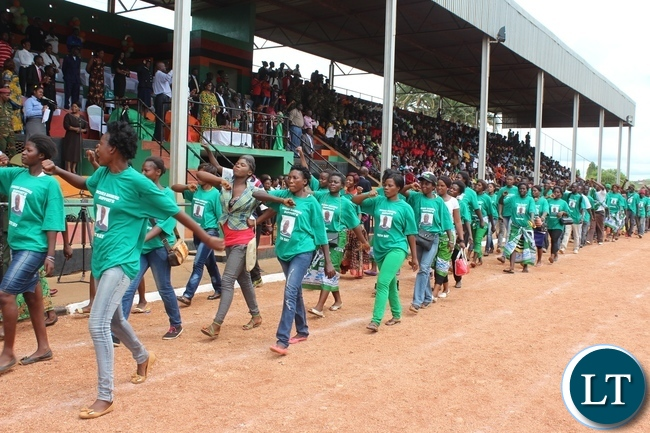 PATRIOTIC Front youth march past the guest of honour, Emerine Kabanshi during the commemoration of Youth Day held at David Kaunda stadium in Chipata on Satuday. PICTURE BY STEPHEN MUKOBEKO/ZANIS