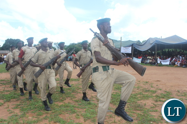 """Cadets from Monze Secondary School mesmerizing scores of youths who attended the Youth Day Celebrations in Monze yesterday under the theme, """"Youth: Champions of Dialogue, Peace, Unity and Economic Emancipation""""."""