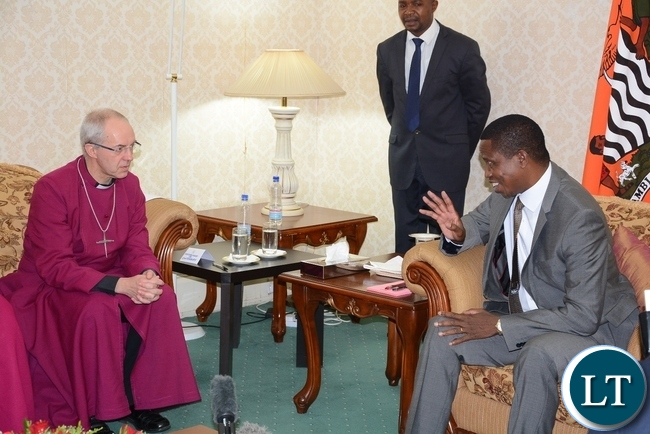 President Edgar Lungu speaks to the most Reverend and Right Honourable Dr. Justin Portal Welby, Archbishop of Canterbury at State House when the archbishop called on him