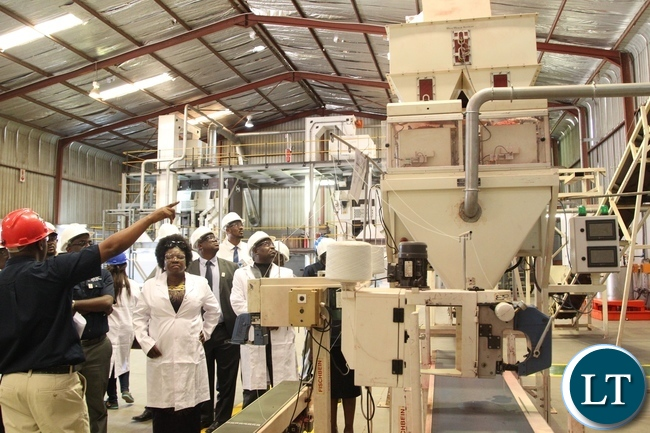 Deputy Minister of labour and social security Alfreda Kansembe Mwamba looks at the Machine while east and west Africa director Bwembya Ng'andu explains how it works has she tours the Mansanto limited company
