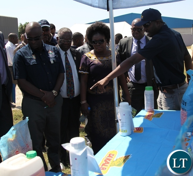Deputy Minister of labour and social security Alfreda Kansembe Mwamba with Mansanto country director Donald Mavindindze looks at Mansanto product .during the official commemoration of the world day for safety and health at work